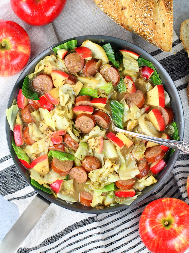 One Pan Kielbasa and Fried Cabbage