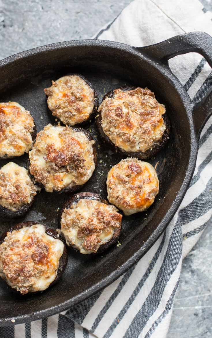 Easy Keto Stuffed Mushrooms are loaded with spicy sausage and cheese for the perfect keto appetizer! #keto