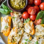 Keto Chicken Pesto Stuffed Sweet Peppers