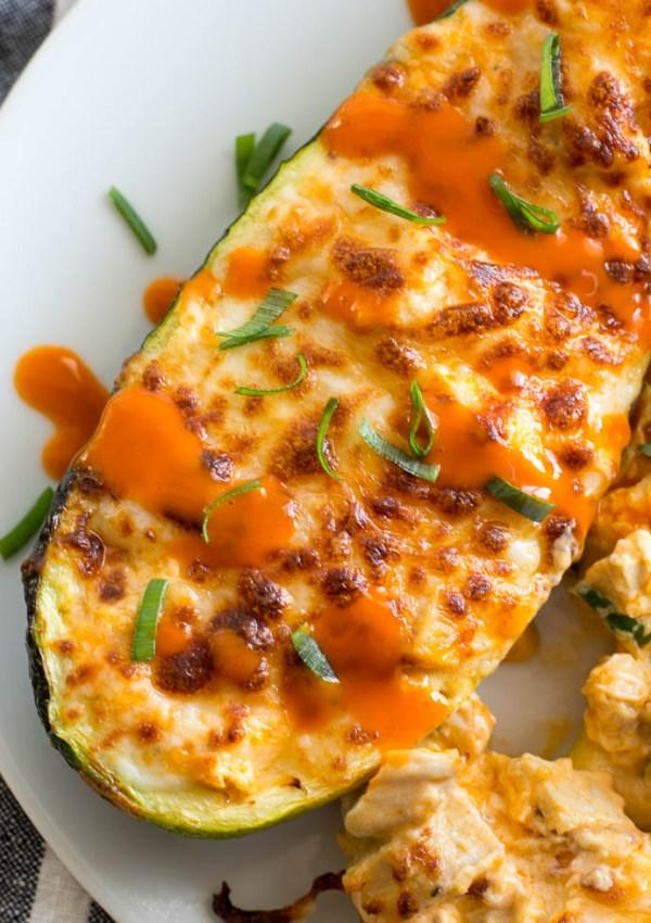Keto Buffalo Chicken Zucchini Boats (Air Fryer + Oven Option)