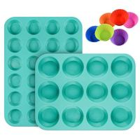 Silicone Muffin Pan Cupcake Set - Mini 24 Cups and Regular 12 Cups Muffin Tin, Nonstick BPA Free Food Grade Silicone Molds with 12 Silicone Baking Cups
