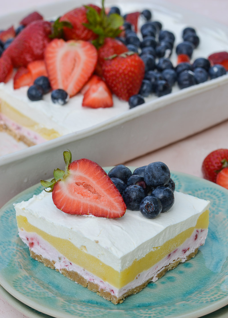 This No Bake Strawberry Cheesecake Lush is a quick and easy four layer dessert bursting with flavor!