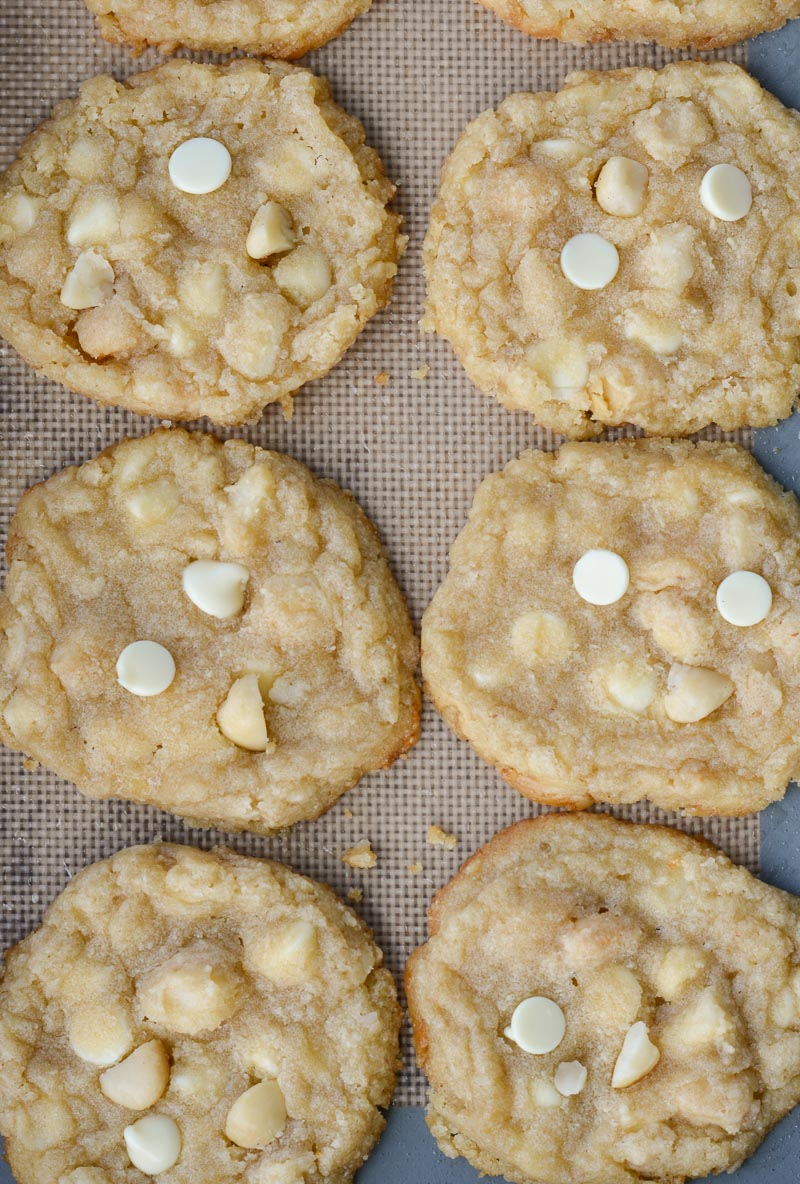 overhead view of keto white chocolate macadamia nut cookies on a baking sheet