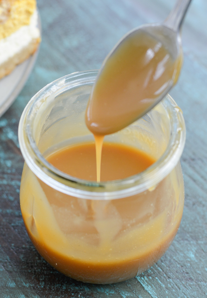 This Keto Caramel Sauce is utterly delicious and perfect when drizzled over cheesecakes, cookies or stirred in your favorite coffee drink! This is the perfect low carb caramel sauce at less than one net carb per serving!