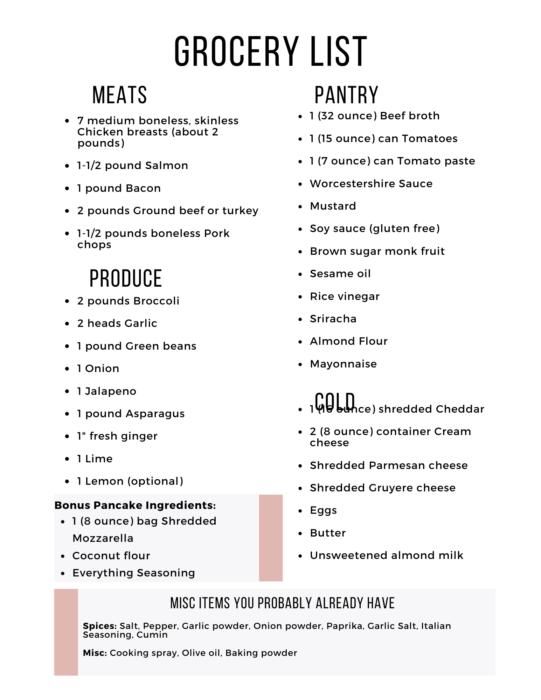 Week 18 Grocery List