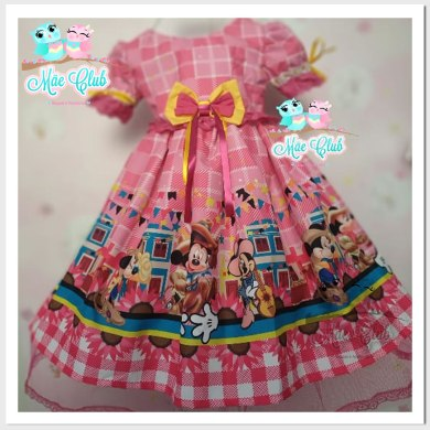 Vestido Infantil Festa Junina Minnie Mouse