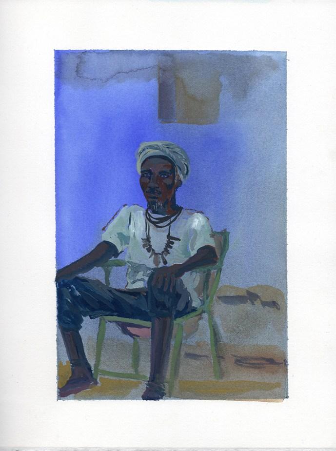 Omar assis, Niaguis, Casamance, encre et gouache sur papier blanc