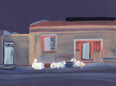 Maison et moutons, Rufisque, gouache sur papier gris