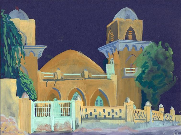 La plus ancienne mosquée de Rufisque, gouache sur papier bleu