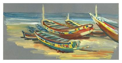 Pirogues sur la plage de Yoff, Dakar, gouache sur papier gris