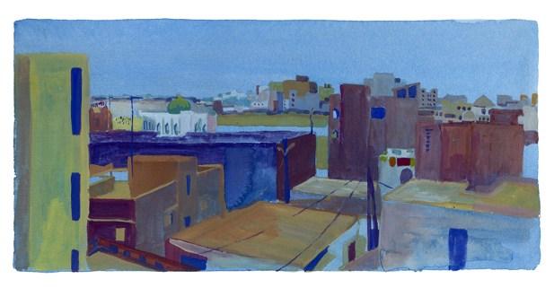 Vue sur le Mausolé depuis le toit de Yoff, Dakar, encre et gouache sur papier blanc