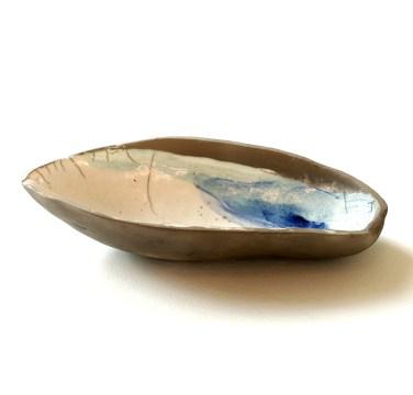 fruit du baobab, terre blanche, oxyde de cobalt émail transparent et turquoise
