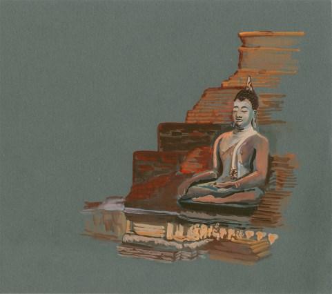 Statue Bouddha ruines de Sukhothai, Gouache sur papier gris, 28x25 cm