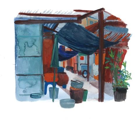 Boui-boui à Chinatown 2, Bangkok, aquarelle et gouache sur papier blanc, 25x22 cm