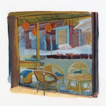 Cafe de Mai Salong, aquarelle et gouache sur papier blanc, 24x22 cm