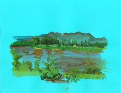 Le fleuve à Ta Ton gouache sur papier bleu, 32x24 cm