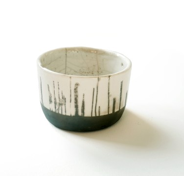 gobelet bodega, terre blanche, émail transparent, haut 7 cm