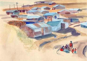 Lessive dans le bidonville, Golphu, gouache sur papier beige, 29x21 cm