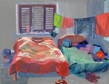 Notre chambre, Golphu, gouache sur papier gris, 31x24 cm