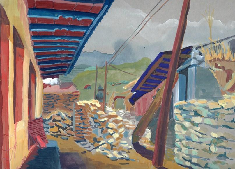 Rue principale de Golphu, en ruines, gouache sur papier gris, 31x24 cm
