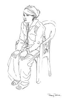 portrait de Passang Dolma, mère d'élève, portrait de Sunbahadur, élève, feutre noir sur papier blanc