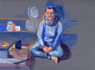 Portrait de Ram, Golphu, gouache sur papier gris, 31x24 cm