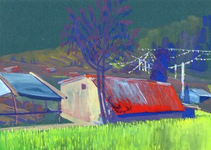 Maison et rizières à Siamrang, gouache sur papier vert, 29x21 cm