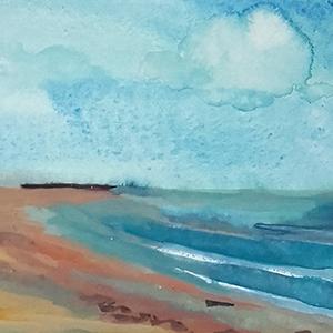 detail gouache sur fond encre plage face au Havre