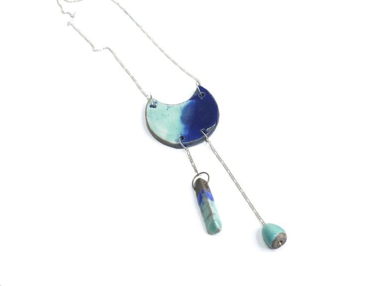 pendentif raku emaillé turquoise et bleu cobalt chaine argent 925