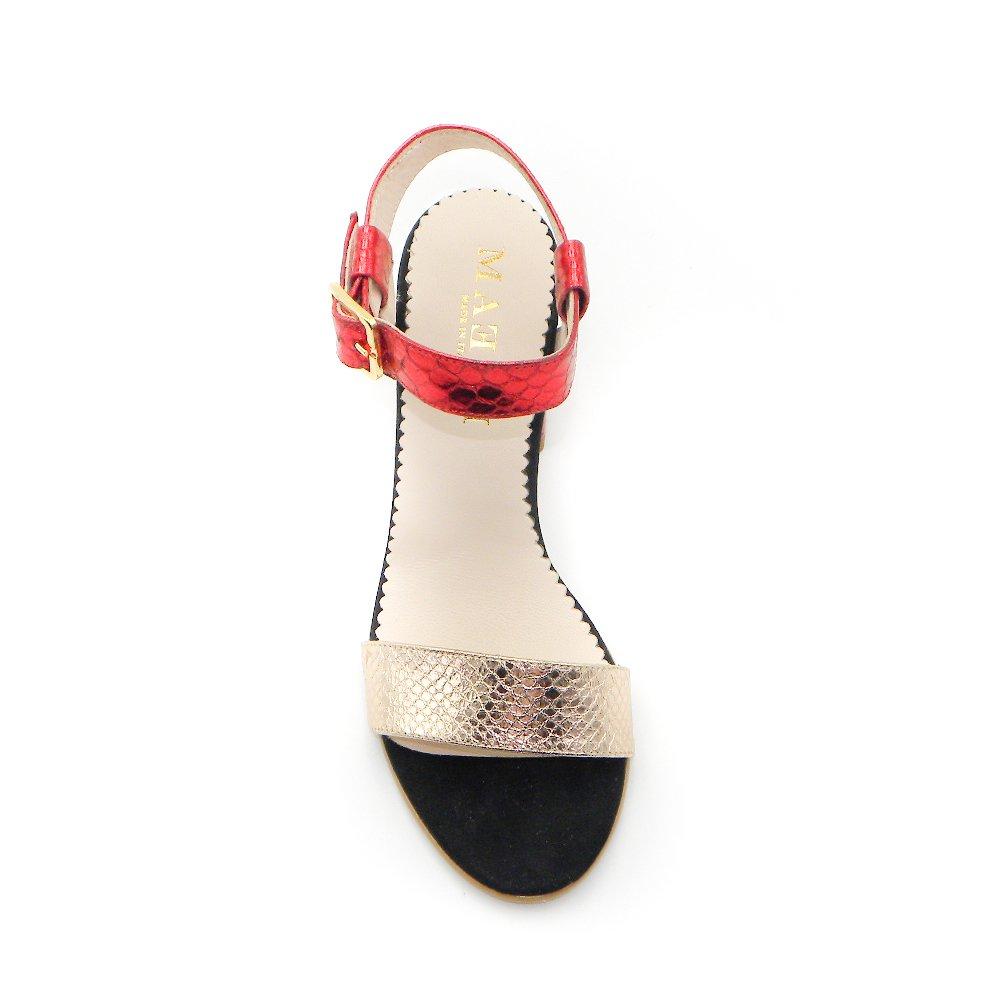 Maemi scarpa da cerimonia tacco 70mm con fibbia regolabile - rosso e rame (4)