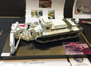 A very original model of a tank specially built to clear around the Chenobyl nuclear accident
