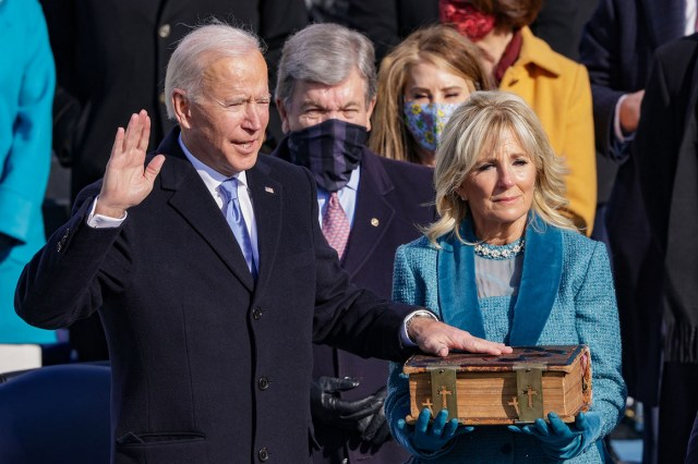 Joe Biden is sworn in as president during his inauguration on the west front of the U.S. Capitol. | Alex Wong/Getty Images