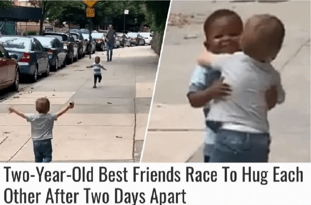 Two year old best friends race to hug each other after two days apart.