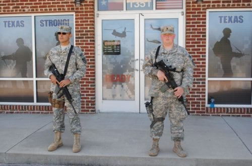 Sgt. 1st Class Jose Hernandez of Crowley, left, and Spc. Sebastion Howard of Fort Worth. Jessica Pounds/CTR