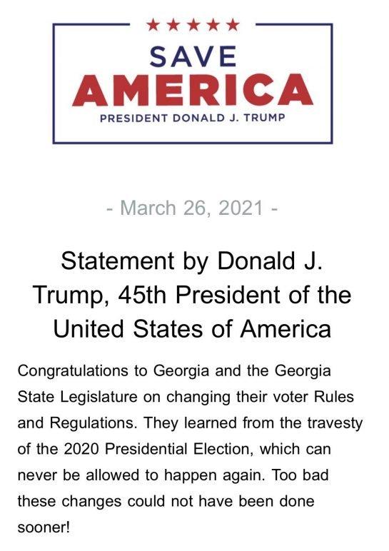 President Trump Congratulates Georgia On Its New Election Law