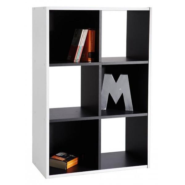 bibliotheque meuble rangement 6 cases noir et blanc loading zoom