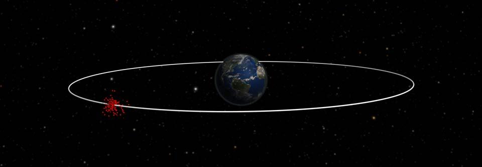 Simulation eines Zusammenpralls im All/Simulation of an explosion in space