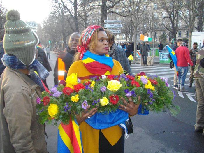 Manifestation des Combattants Resistants: hommage aux martyrs congolais. Paris 4 janvier 2016.(Photo Magazine Ngambo Na Ngambo).