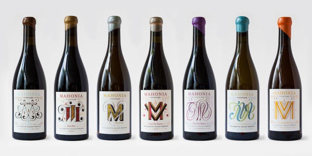 lettering in product design - wine bottles design