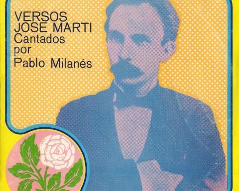 Portada del disco Versos de José Martí. Cantados por Pablo Milanés.
