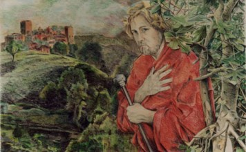 Der Wanderer, kleurpotlood, 80x59cm