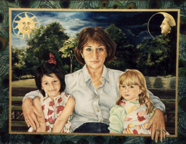 Portret van Mevrouw De Greef en kinderen, olieverf op paneel, 70x55cm
