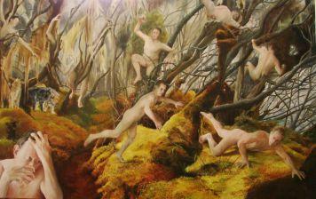 Canto XIII - De Hel van Dante, olieverf op paneel, 94x64cm