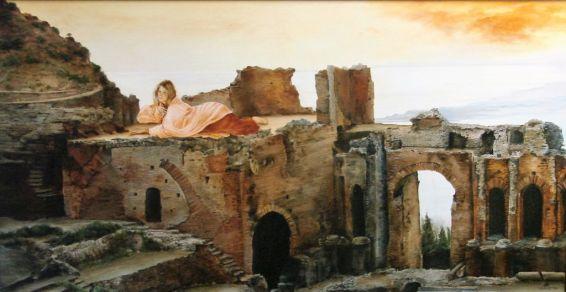 De Sfinx van Taormina, olieverf op paneel, 109x63cm