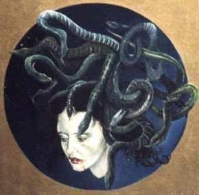 Medusa, olieverf op paneel, 45x45cm