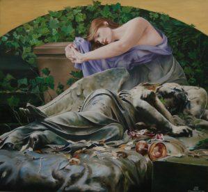 Tristan en Isolde, olieverf op paneel, 83x77cm