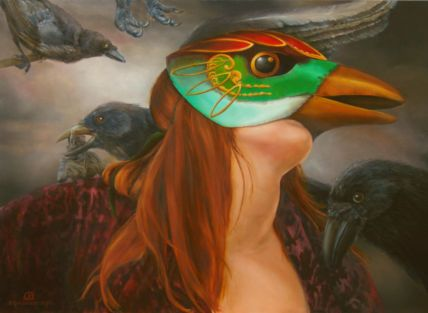 Vogelverschrikker II, olieverf op paneel, 68x51cm