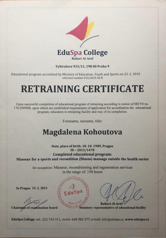 Masérská rekvalifikace Magdaléna Kohoutová
