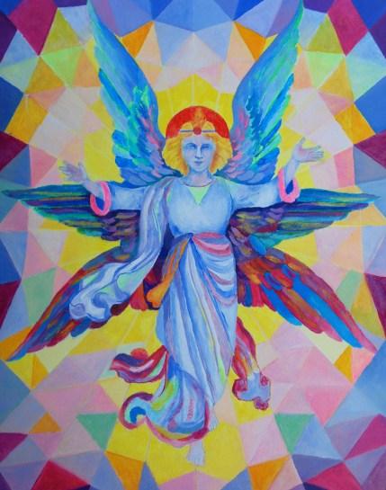 Anioł stróż malarstwo religijne olej na płótnie