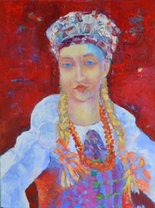 kobieta w polskim stroju ludowym łowiczanka polish folk girl dress painting